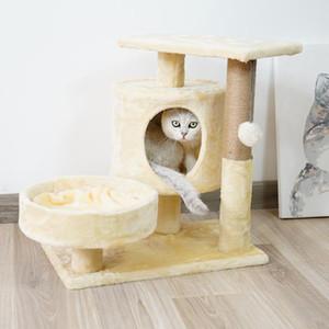 Flanelle en bois chat arbre lit chaton grimpant outil de chat de chat de bois fait main chats de chat grinçant jouet pet Cavolae home pet jouets