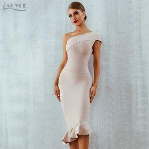 Adyce New Summer Women Bandage Dress Vestidos One Shoulder Sleeveless Ruffles Nightclub Dress Celebrity Evening Party Dress 201022