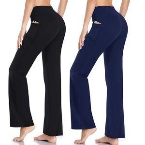 Vertvie 2020 Fashion Women Sports Pants Yoga Running Jogging Bootleg Pants Inner Pocket Light Weight High Waist Leggings Fitness