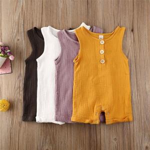 2020 2020 Naissance du nouveau-né Romper bébé bébé garçon Vêtements fille manches Romper Jumpsuit été Tenues Solid 4 couleurs S4F5 #