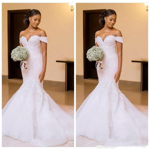 African Black Women 2021 Mermaid Wedding Dresses Bridal Gowns Off Shoulder Lace Appliques Slim Beautiful Ladies Vestido De Novia