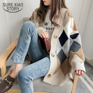 Autumn Winter Women Sweater Cardigan Oversize V neck Knit Cardigan Girls Outwear Korean Chic Tops Suete Mujer Poncho 10930 201006