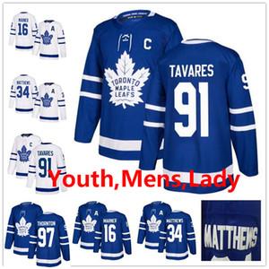 Männer Kid Lady 91 John Tavares 97 Joe Thornton William Nylander Mitch Marner Morgan Rielly Auston Matthews Toronto Ahorn Blätter Hockey-Trikots