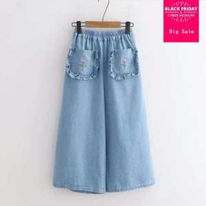 Summer new ruffles Flowers Embroidery women Wide Leg denim Pants 2020 casual loose cute female cowboy pants jeans gx748