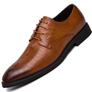 Luxury Men Shoes Dress EUR Size 38-46 Leather Shoes Mens Formal Pointed Toe Men Wedding Party Office Brown Black