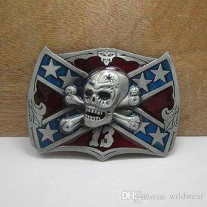 Bucklehome Metall Rebel Gürtelschnalle Skull Gürtelschnalle Confederate Schnalle mit Zinn Überzug fP -02.836 Kostenloser Versand