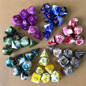 7pcs set Polyhedral Game Dice Dungeon and Dragons Table Board Roll Playing Games Colorful Acrylic Number Dices Children Toys Kimter-K209FA