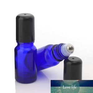 12шт 10 мл Roll On Бутылка для эфирных масел Слейте Cobalt Blue Glass с нержавеющей сталью роллера для парфюмерии Lipgloss