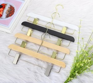 Solid wood trousers hanger with long non-slip multifunctional suit pants clip skirt socks clip hanger
