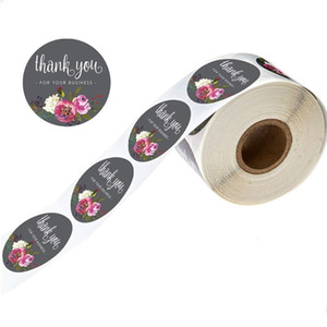 Flower Pattern Grazie Sticker Circolare Design floreale Adesivi regalo fatti a mano Adesivi per il compleanno Decorazioni per il compleanno Etichetta Sticky Paper Vendita calda 1 2JK L2