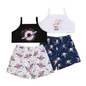 Girls Space Brance Tops + штаны наряды лето 2021 стильная дети бутик одежда 1-5 девочек без рукавов 2 шт.