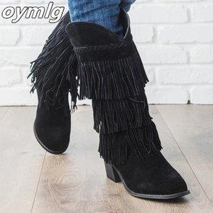 2020 NOUVEAU FEMME Bohemian Boho Heel Boe Boîte Ethnic Femmes Tassel Frange Faux Faux Suisse En Cuir Bottines Chaussures Plat Chaussures Tootes1