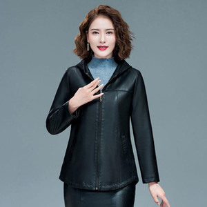 Kadın Deri Faux Bayan Siyah Zarif Kapüşonlu Ceketler Bayanlar Ince Yumuşak Koyun Koyun Artı Boyutu 5XL Kadın Giyim Giyim