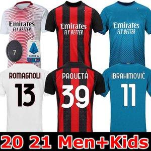 20 21 AC Milan soccer jersey 2020 2021 IBRAHIMOVIC PIATEK football shirt long sleeve PAQUETA BENNACER men kids REBIC camisa de f