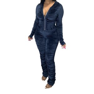 Sexy Womens Rompers Fashion Soild Color Hooded Womens Jumpsuits Stacked Designer with Zipper Womens Clothing