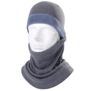 Le donne del cappello degli uomini del vello e della sciarpa del inverno caldo passamontagna Berretti Skull Tuque Caps Scaldacollo moto Outdoor Ciclismo Copricapo panno LY1012