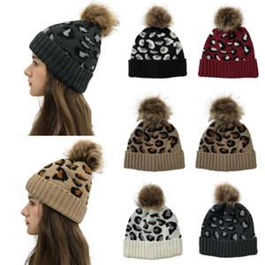 Pom Beanies Kadınlar Kız Kış Örgü Şapka Açık at kuyruğu Beanie Ayrılabilir Ponpon Hat 30pcs T1I2589 Isınma yazdırmak leopard
