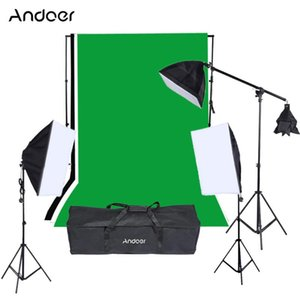 Andoer Photo Studio Kits 9*135W Photography lights Bulbs Softbox Light Stand Green Photo Backdrop Cantilever Stick Accessories