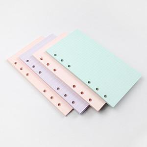 새로운 5 색 A6 느슨한 잎 단색 노트북 리필 나선형 바인더 색인 페이지 플래너 의제 필러 논문 노트북 액세서리 BWF2488