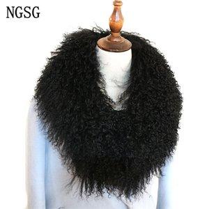 NGSG Kadınlar Gerçek Katı Siyah Doğal Orijinal Moğol Koyun Yün Kürk Eşarp Coat Yaka Kış özelleştirme Multicolors Y201007