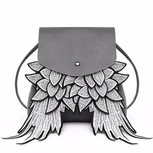 Moda kadın kanat benzersiz tasarım PU deri bayan Angel Wings ipli sırt çantası Kadın omuz çantası bao ile Samll
