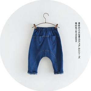 Nouveau Style 2020 Printemps Baby Girl Garçon Jeans Denim Coton Triangle Poche Loisirs Pantalon Harem Libre