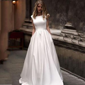 Brautkleider mit Taschen Vestido de novia Satin White ärmel Brautkleider bodenlangen Brautkleid