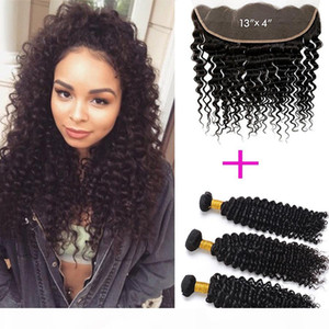 Peruvian Virgin Human Hair Extensions 3 Bundles With 13 X 4 Lace Frontal Hair Weaves Frontal Deep Wave Curly Hair Bundles With Frontal