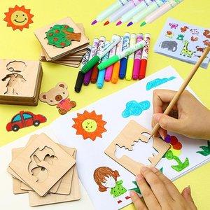 Drawing Stencil Kit Art and Artigianato Set con penne colorate Disegno modello Hollow Modello 56 pezzi Giocattolo educativo per bambini AGES 3-61