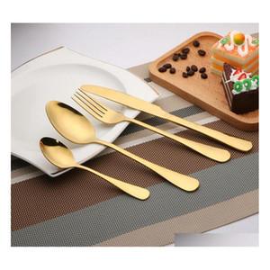 Cutelaria de ouro de alta qualidade Talheres Set Colher Faca Faca Colher de Chá Set Dinnerware Set Kitche Sqcdec Wphome