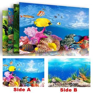 PVC Double côté Aquarium Affiche de l'aquarium Décoration Terrain de poisson Background Sticker Ocean Forest Paysage Décoration de la paroi du réservoir de poisson1