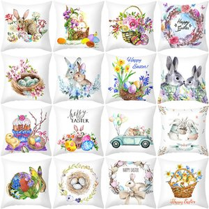 happy easter pillowcase easter customized 18x18 inch bunny egg printed pillow case home sofa throw cushion case decor