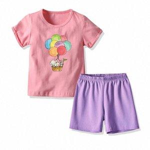 Çocuk Çocuk Kız Yaz Kısa Sleeve Pijama Sevimli Baskı pijamalar Casual Gecelik Pijama Pijama İçin Kızlar Footie Pajam hnny # ayarlar