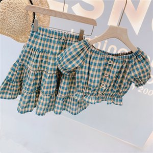 SC INS Humor Bear Summer Kids Girls Clothing Sets Toddler New Summer Girl Plaid Printed Shirt+ Skirt Suit Children 2PCS Clothes Sets
