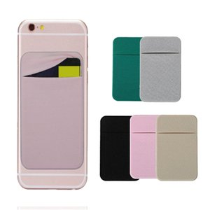 Card Adhesive Pocket Credit Sticker Pouch Holder Case Solid Color For Mobile Phone AS99
