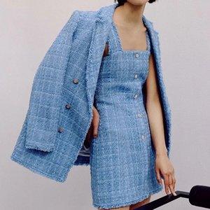 ZXQJ tweed mulheres elegantes azuis blazers moda Vintage soltas casacos blazer ocasional fêmea ternos streetwear meninas chiques 201008