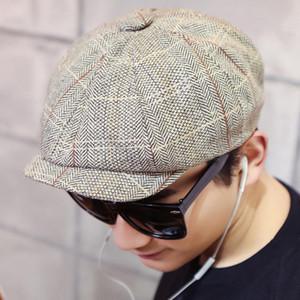 Bigsweety Vintage Blend coton Hommes rayé Cabbie Newsboy Caps de haute qualité plat octogonal Golf Driving Hat Accessoires