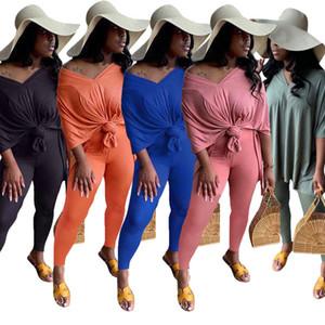 Women Two Piece Set Bat Short Sleeve V Neck Split Top Pencil Pant Outfits Ladies T Shirt Trousers Casual Suits Plus Size A225