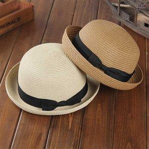 Sombrero de la paja de la playa de verano sombreros para las mujeres Lady Boater Sun Caps Ribbon Redondo Fedora Panamá Hat C401