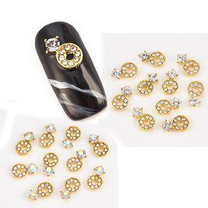 10pcs pack box golden nail art decorations Alloy nails accessories with crystal nail rhinestones