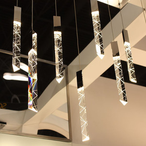 Moderna Loft LED lampadario di cristallo Chrome K9 Duplex Stair Chandelier Living Room Hotel soffitto Hanging lampada a sospensione luce lusso