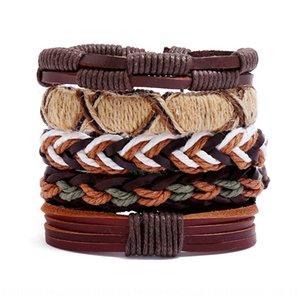 Nuovi accessori tessuti bovina cinque pezzi monili di cuoio bracciale fai da te combinazione degli uomini di cuoio di DIY braccialetto 2pytG