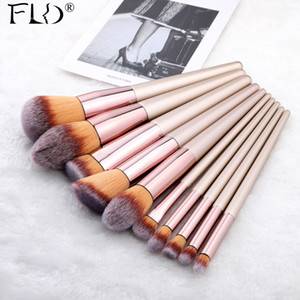 FLD 9 10 Pieces Kabuki Makeup Brushes Set For Foundation Powder Blush Eyeshadow Concealer Make Up Brush Cosmetics Beauty Tools 201007