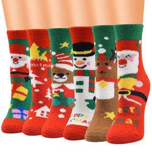 Série Meias New Natal para senhoras Coral Velvet Papai Meias de Natal Mulheres Socks frete grátis OWF2671