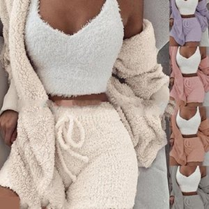 New Knitted Casual Women Two Piece Set Short Jumpsuit Winter Female Solid Tracksuit Women's Autumn Soft Warm Playsuit 201008
