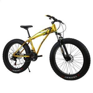26 pouces de vélo de pneu gras vélo Snow Beach Vélo 7/21/24/27 Vitesse Mont Mountain Bike Cadre en acier au carbone Double disque Bicyclette adulte