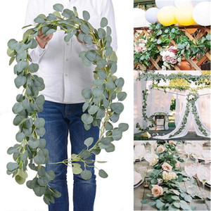Contexto de la boda densa hoja artificial eucalipto Garland imitación de seda hojas de eucalipto Vine Garland Verde arco decoración de la pared HWC2873