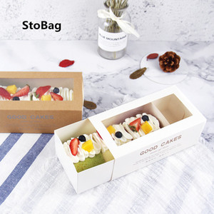 STOBAG 10PCS Snowflakes منشفة سويس كيك لفة الخبز مستطيل النفخة مع درج ورق تغليف مربع اليدوية للحزب الزفاف 201029