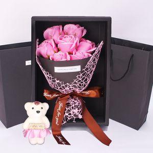 7 장미 비누 꽃 선물 상자 작은 꽃다발 발렌타인 데이 이벤트 선물 크리스마스 선물 선물 귀여운 장식 꽃 Vtky2164
