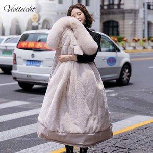 Vielleicht Fashion Long Winter Coat Women Clothing Wool Liner Hooded Parkas Slim With Fur Collar Warm Winter Jacket Women 201026